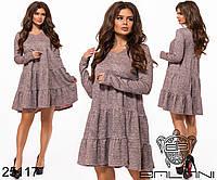 Меланжевое платье трапеция с воланами размеры S-XL, фото 1