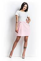 Платье из трикотажа с карманами розовое.