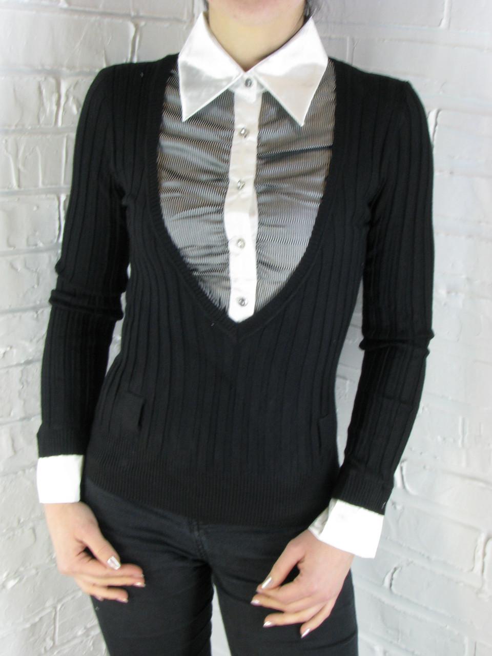 Джемпер с рубашкой 9788 черный