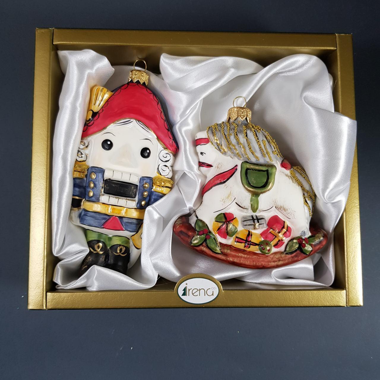Набір скляних ялинкових іграшок Лускунчик з конячкою Irena
