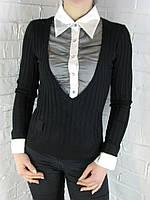 Джемпер с рубашкой 9788 черный, фото 1