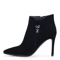 Элегантные замшевые демисезонные женские ботинки на шпильке ANGELO
