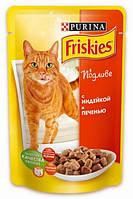 Friskies для кошек кусочки в подливе с индейкой и печенью, 100г