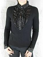Джемпер с рубашкой 9910 черный, фото 1