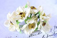 Декоративные цветы (маки) 60 шт/уп. оптом диаметр 5 см, кремового цвета, фото 1