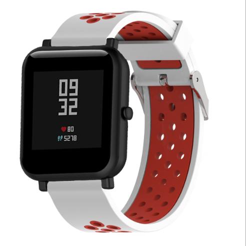 Ремешок Sport для Xiaomi AMAZFIT Bip / 20 мм White / Red (Белый / Красный)