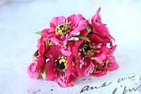 Декоративные цветы (маки) 60 шт/уп. оптом диаметр 5 см, малинового, ярко-розового цвета, фото 1