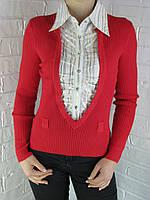 Джемпер с рубашкой 9587 В красный, фото 1