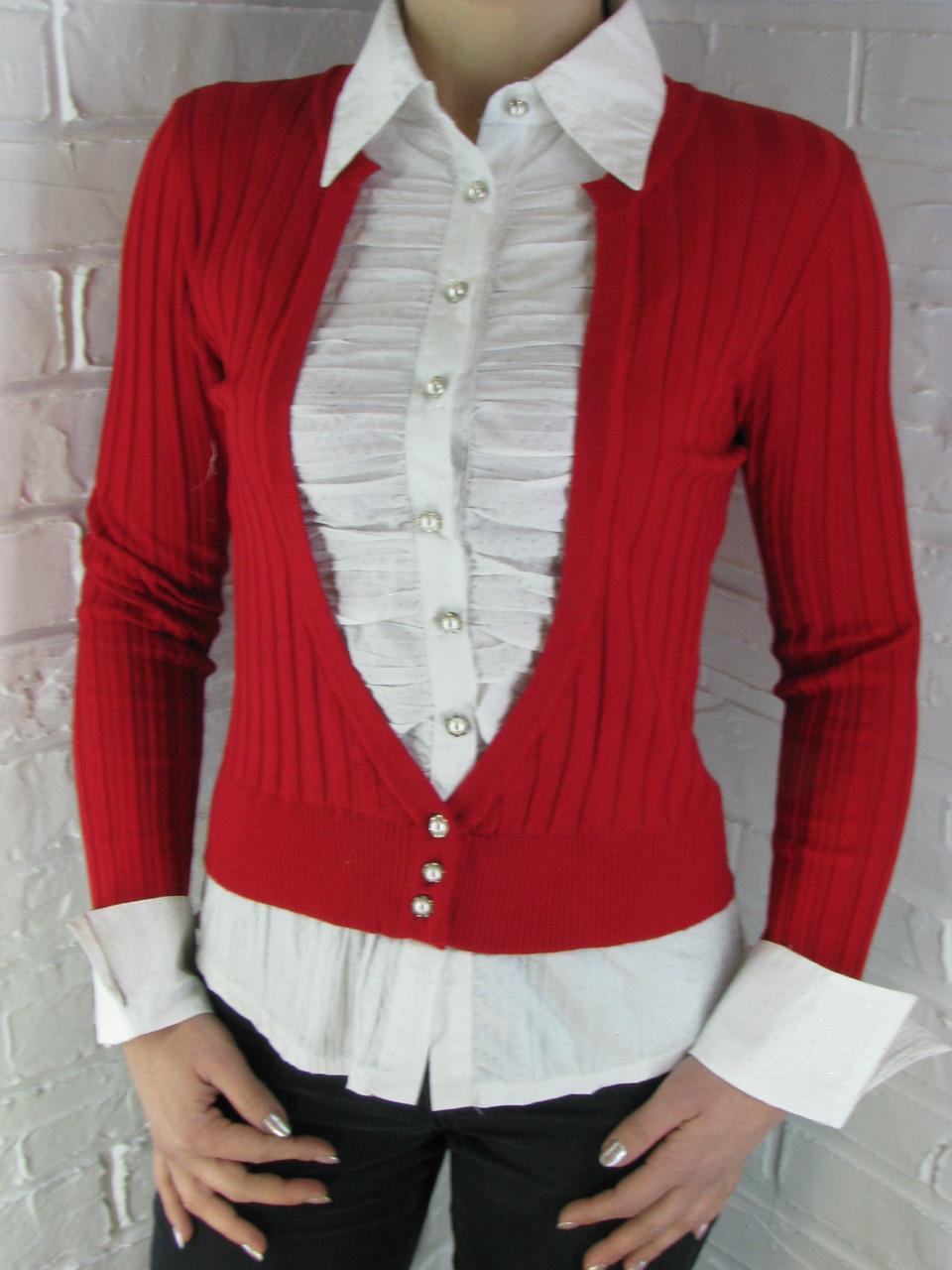 Джемпер с рубашкой 9021 А красный