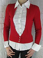 Джемпер с рубашкой 9021 А красный, фото 1