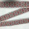 Тесьма с красным украинским орнаментом, ширина 4 см