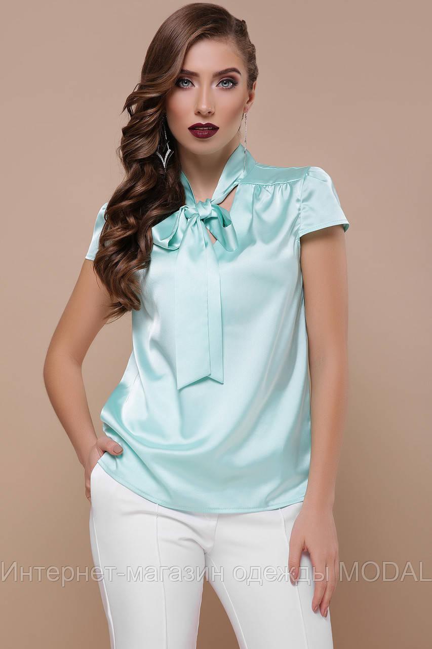 6ba6daa95a4 Женская голубая блуза с коротким рукавом - Интернет-магазин одежды MODAL в  Киеве