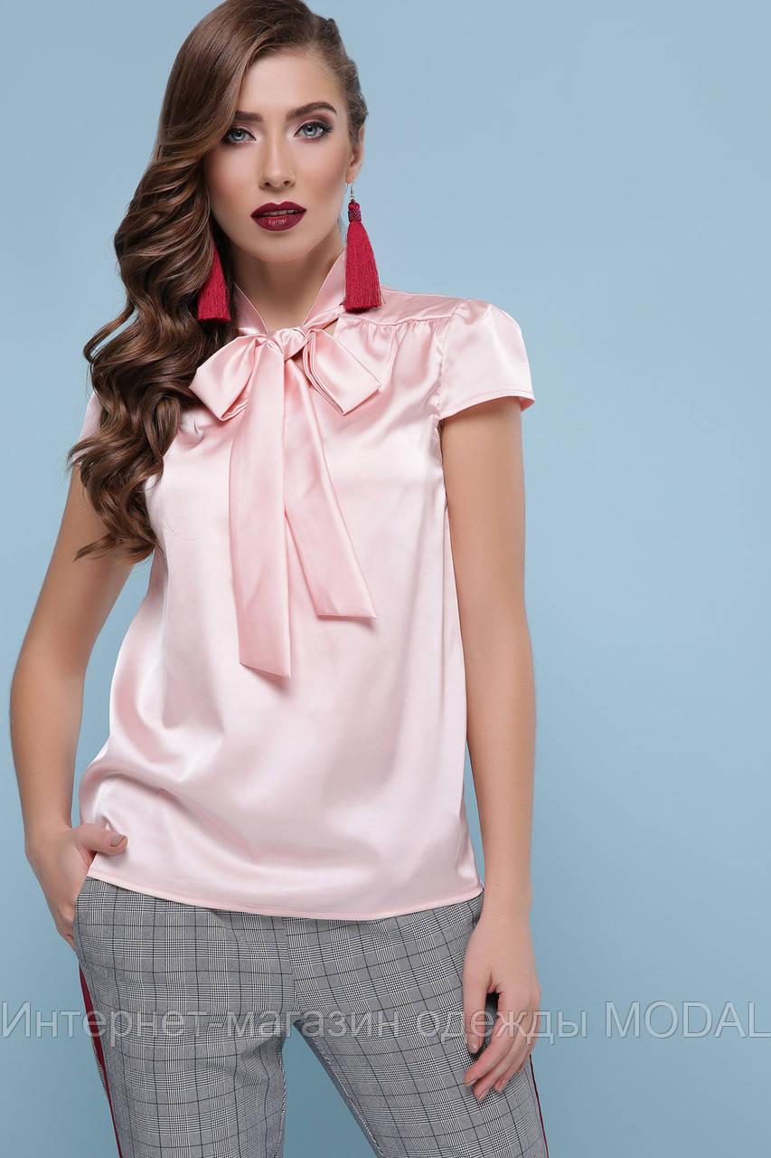 854e84aea65 Шелковая блузка с бантом короткий рукав - Интернет-магазин одежды MODAL в  Киеве