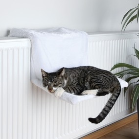 Гамак на батарею для кошки Белый плюш