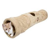 Тоннель плюшевый бежевый для кота ø 25 × 125 cm