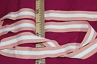 4 см. лента трикотажная персик +белый №1072, фото 1