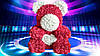 Мишка из латексных 3Д роз красный с сердцем, фото 5