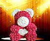 Мишка из латексных 3Д роз красный с сердцем, фото 6