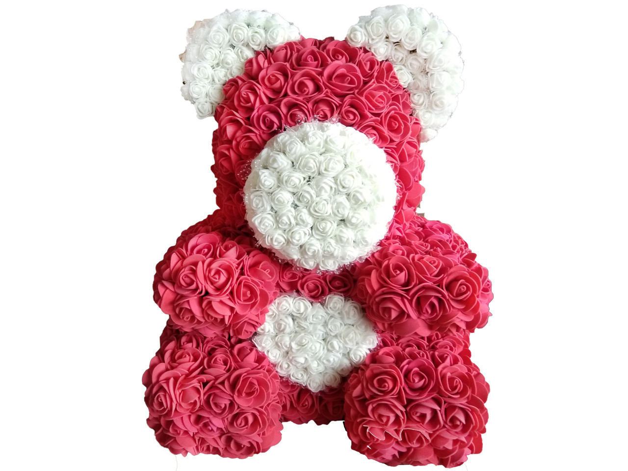 Мишка из латексных 3Д роз красный с сердцем