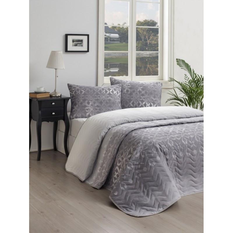 Покрывало стеганное с наволочками Eponj Home - Twed gri серый 200*220 см