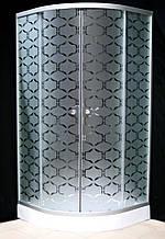 7122-10 (90х90см). Душевая кабина KO&PO с мелким поддоном (13,5см), стекло с декором