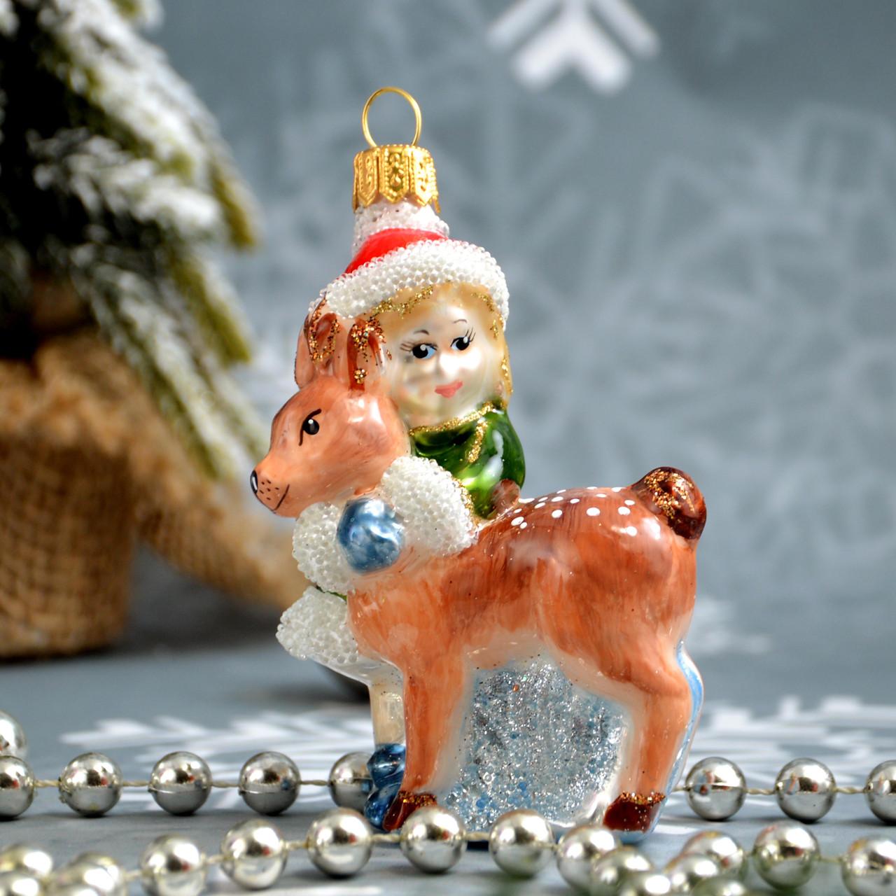 Скляна ялинкова іграшка Дівчинка з оленятком Irena