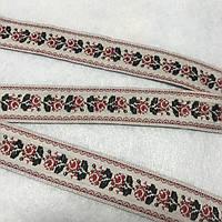 Тесьма с красно-черными розами, ширина 2 см, фото 1
