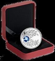 """Монета с благородно-синим кристаллом """"Сапфир"""", серебро, Королевский монетный двор Канады"""