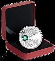 """Монета с зелёным кристаллом """"Изумруд"""", серебро, Королевский монетный двор Канады"""