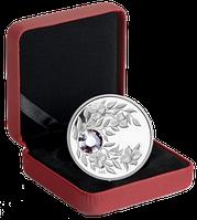 """Монета с кристаллом """"Александрит"""", серебро, Королевский монетный двор Канады, фото 1"""
