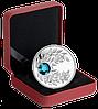 """Монета с лазурным кристаллом """"Циркон"""", серебро, Королевский монетный двор Канады"""