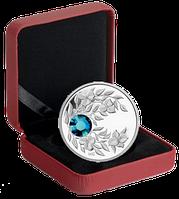 """Монета с лазурным кристаллом """"Циркон"""", серебро, Королевский монетный двор Канады, фото 1"""