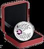 """Монета с сиреневым кристаллом """"Аметист"""", серебро, Королевский монетный двор Канады"""