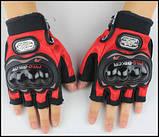 Спортивные беспалые перчатки «BIKER» с кастетными вставками., фото 2