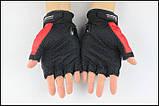 Спортивные беспалые перчатки «BIKER» с кастетными вставками., фото 4