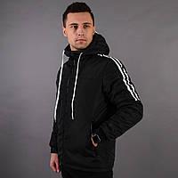 Мужская черная весенняя курточка, черная куртка с лампасами , фото 1
