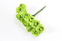 Декоративные бумажные цветочки оптом, розы 1,5 - 2 см 12 шт/уп. на ножке салатового  цвета