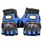 Спортивные беспалые перчатки «BIKER» с кастетными вставками., фото 5