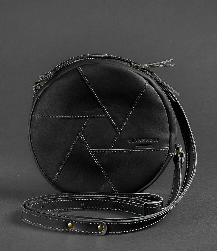 Круглая женская сумка-клатч кожаная Krast черная (ручная работа)