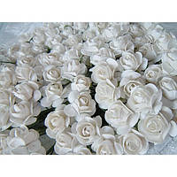 Бумажные цветочки оптом 144 шт. 1,5 - 2 см белого цвета, фото 1
