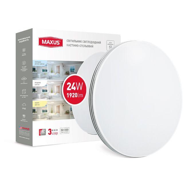 Светодиодный настенно-потолочный светильник MAXUS 1-MCL-0224-3S-C 3-step 24W 3000-6500K Круг