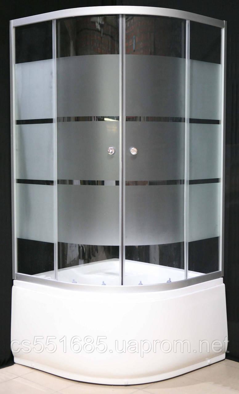 7125-7 (90х90см). Душова кабіна KO&PO з глибоким піддоном (13,5 см), скло з декором