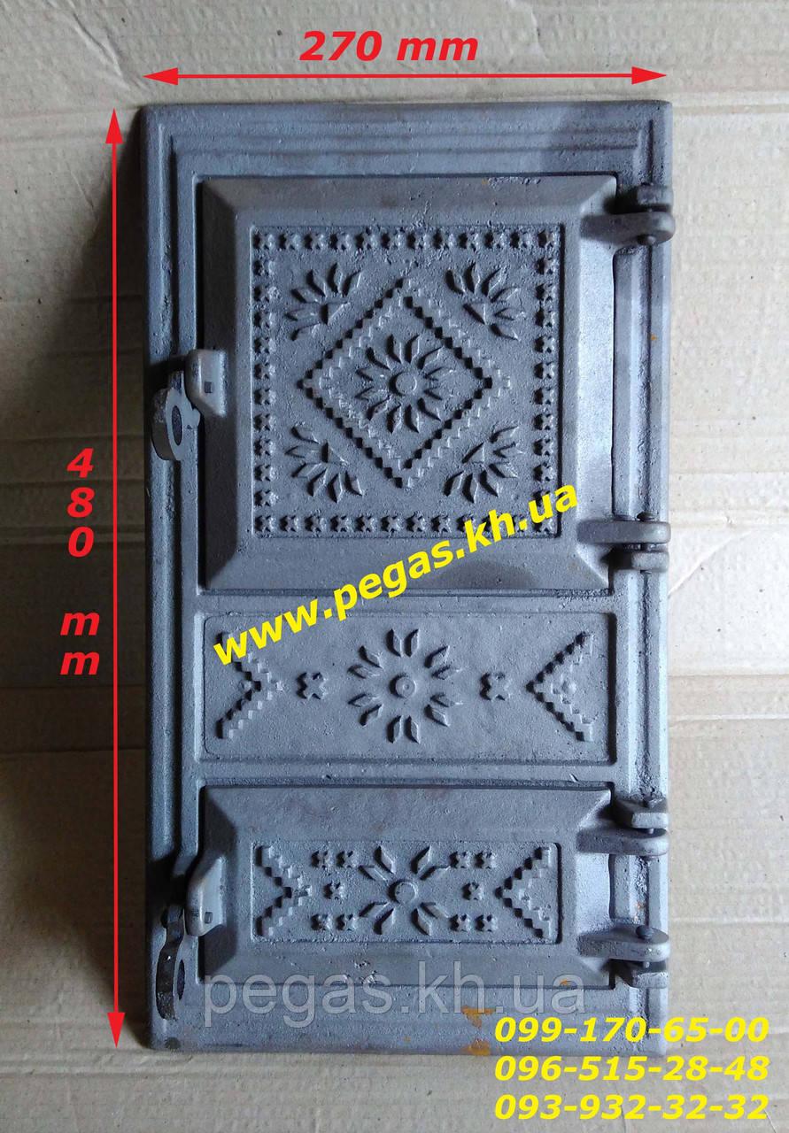 Дверка чугунная печная (270х480 мм) грубу, печи, барбекю, мангал