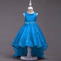 Нарядное платье для девочки гипюровое со шлейфом и стразами голубое (видеообзор)