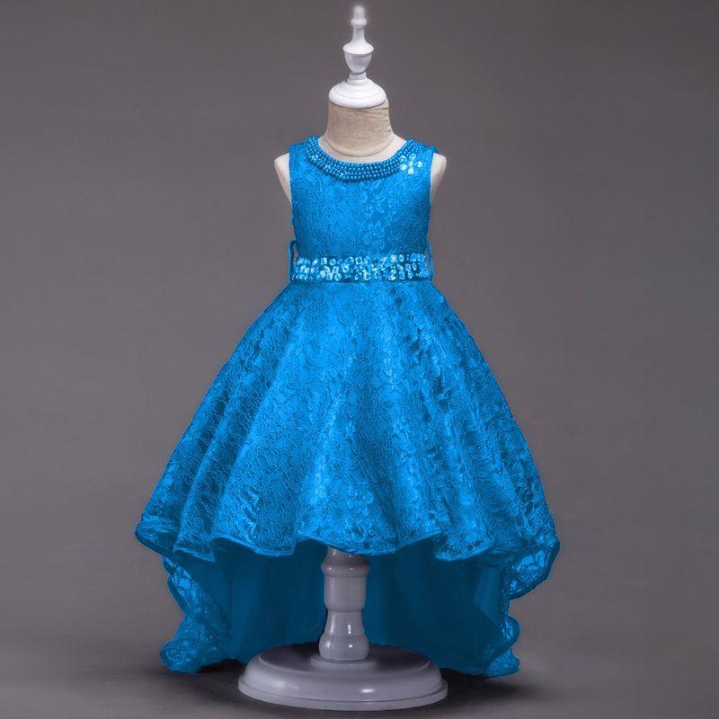 0e4c11c9153354e Нарядное платье для девочки гипюровое со шлейфом и стразами голубое -  Интернет-магазин