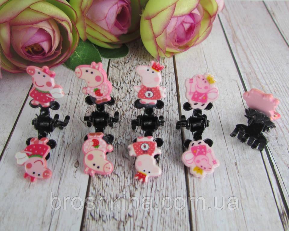 Маленькие детские крабики для волос Свинка Пеппа 5 шт/уп