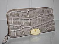 Женский кожаный кошелек на молнии(змейке) CONTEMPO 1545 Италия платина