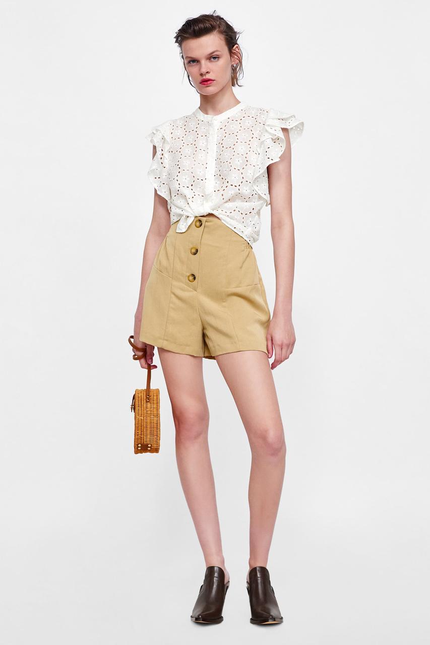 a62fb04838e Блузка Zara с ажурной вышивкой и воланами. Оригинал