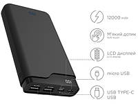 ERGO LI-U6 TYPE-C, 12000 mAh Rubber Black Портативная батарея
