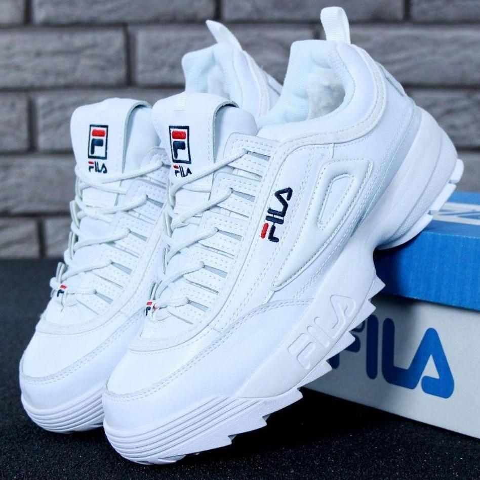 Зимние женские и мужские кроссовки Fila Disruptor 2(II) White с мехом